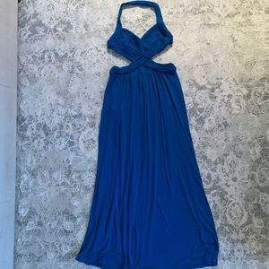 Blue maxi gown with cutouts